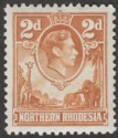 Northern Rhodesia 1938 KGVI 2d Yellow-Brown Mint SG31