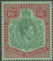 King George VI 10sh emerald and deep red on pale green.