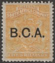 British Central Africa 1891 QV BCA Opt on BSAC 5sh Orange-Yellow Mint SG12