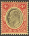 Nyasaland 1908 KEVII 4d Black and Red on Yellow wmk Inverted Mint SG76w