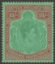 King George VI 10sh bluish-green and brown-red on pale green.