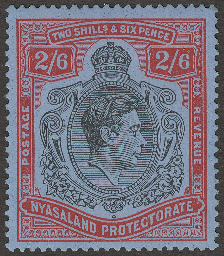 Nyasaland 1938 KGVI 2sh6d Black and Red Mint SG140