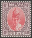 Malaya Perak 1938 KGVI Sultan Iskandar 40c Scarlet and Dull Purple Mint SG117