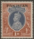 Pakistan 1947 KGVI 1r Grey and Red-Brown Opt on India wmk Inverted Mint SG14w