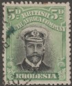 Rhodesia 1913 KGV Admiral 5d Black and Green Die I p14 Used SG212