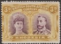 Rhodesia 1910 KGV Double Head 3d Brown-Purple and Ochre Mint SG134