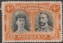 Rhodesia 1910 KGV Double Head 4d Black and Orange Mint SG140 cat £50