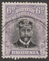 Rhodesia 1913 KGV Admiral 6d Black and Mauve Die I p15 Used SG217