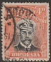 Rhodesia 1913 KGV Admiral 4d Black and Orange-Red Die II p14 Used SG224