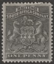 Rhodesia 1892 QV BSAC First Arms 1d Black Mint SG1