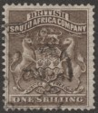 Rhodesia 1892 BSAC First Arms 1sh Grey-Brown Used SG4