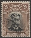 Rhodesia 1913 KGV Admiral 2sh Black and Brown Die I p14 Used SG214