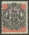 Rhodesia BSAC 1897 Large Arms QV £1 Used SG73 with Fiscal Date Perfin Revenue