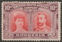 Rhodesia 1910 KGV Double Head 10d Scarlet and Reddish Mauve Mint SG149 cat £50
