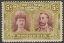Rhodesia 1910 KGV Double Head 5d Purple-Brown + Olive-Green Mint SG141 cat £65