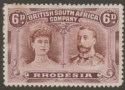 Rhodesia 1910 KGV Double Head 6d Red-Brown and Mauve Mint SG144 adhesion tones
