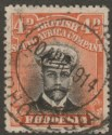 Rhodesia 1913 KGV Admiral 4d Black and Orange-Red Die I p15 Used SG216