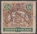 Rhodesia BSAC 1897 Revenue Arms £30 Brown and Green Used with Date perfin BF11a
