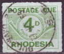 Rhodesia 1965 Postage Due 4d Green Roulette Used SG D10