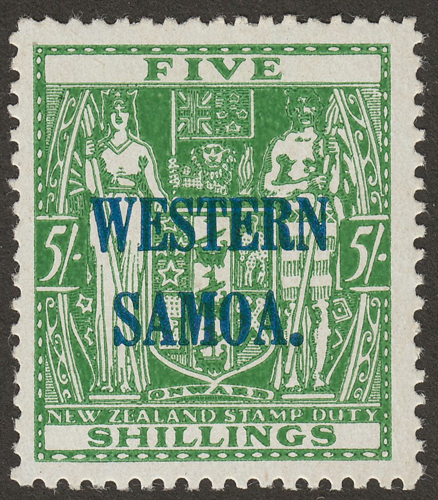 Samoa 1942 Postal Fiscal 5sh Green on Wiggins Teape Paper Mint SG194a