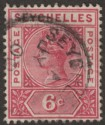 Seychelles 1900 QV 6c Carmine with Variety Repaired S Used SG29a
