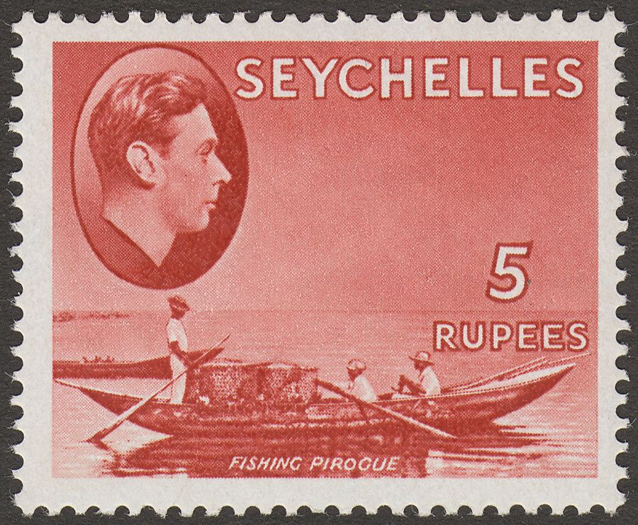 Seychelles 1942 KGVI Pirogue 5r Red Mint SG149a