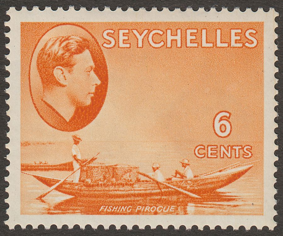 Seychelles 1938 KGVI Pirogue 6c Orange Mint SG137
