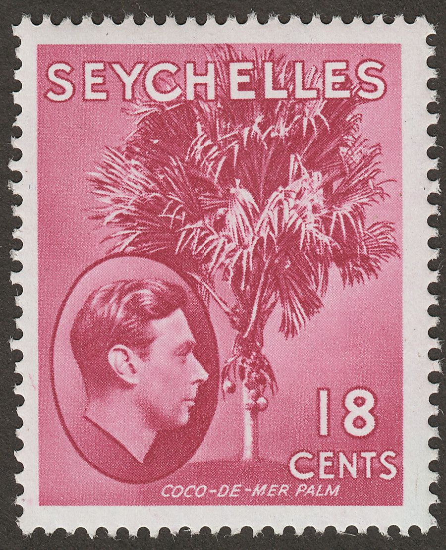 Seychelles 1949 KGVI Palm Tree 18c Rose-Carmine Mint SG139cb