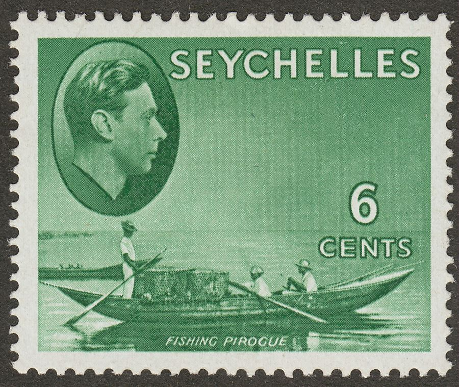 Seychelles 1949 KGVI Pirogue 6c Green Chalky Mint SG137c