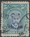 Southern Rhodesia 1924 KGV Admiral 5sh Blue and Blue-Green Used SG14