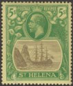 St Helena 1927 KGV 5sh Grey and Green on Yellow Mint SG110 cat £45 with fault