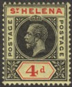 St Helena 1913 KGV 4d Black and Red on Yellow Mint SG85