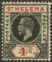 St Helena 1913 KGV 4d Black and Red on Yellow Variety Split A Used SG85a