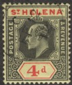 St Helena 1911 KEVII 4d Black and Red on Yellow Ordinary Paper Used SG66a