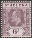 St Helena 1908 KEVII 6d Dull and Deep Purple Chalky Paper Mint SG67