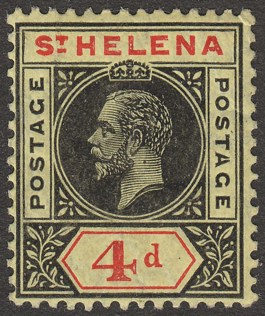 St Helena 1913 KGV 4d Black and Red on Yellow Variety Split A Mint SG85a