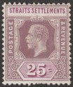 Malaya Straits Settlements 1914 KGV 25c Purple + Mauve wmk Inverted Mint SG205aw