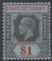 Malaya Straits Settlements 1921 KGV $1 Black and Red on Blue Mint SG239