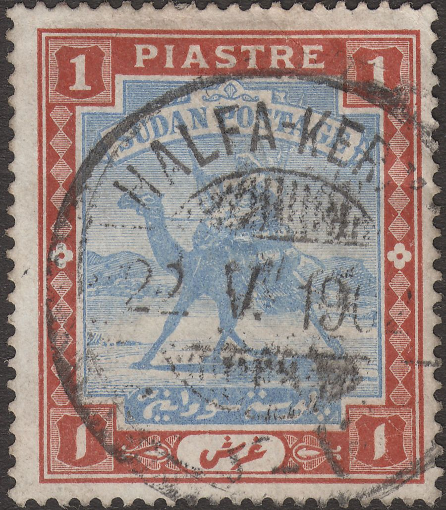 Sudan 1902 KEVII Camel Postman 1p Blue and Brown Used HALFA-KERAM TPO Postmark