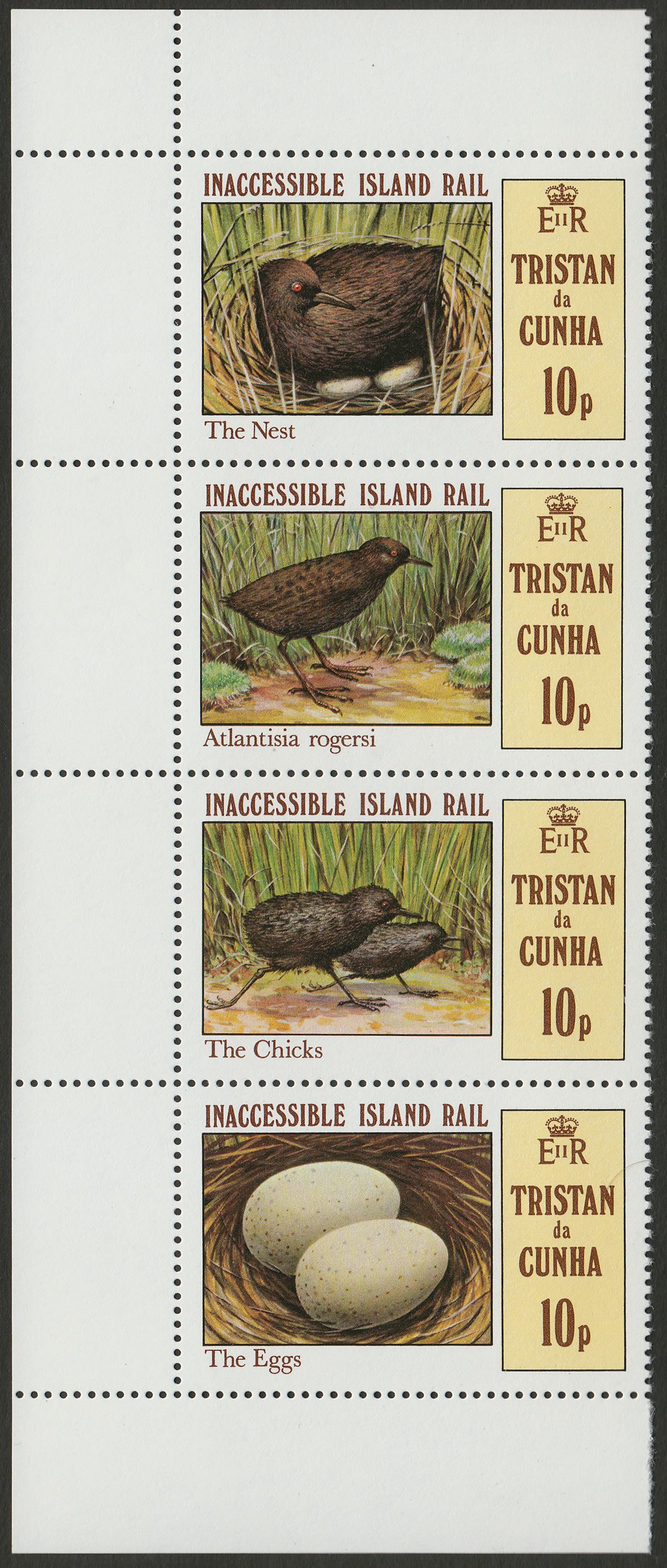 Tristan da Cunha 1981 QEII Inaccessible Rail 10p Strip wmk Inverted Mint SG315aw