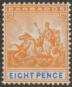 Barbados 1892 QV Seal of Colony 8d Orange and Ultramarine Mint SG112