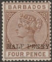 Barbados 1892 QV ½d Surcharge on 4d Brown with Variety No Hyphen Mint SG104a